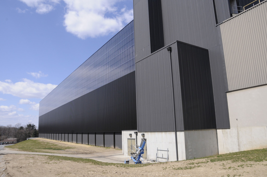 The U.S. Army Corps of Engineers installed 55,263 square feet of solar wall on the Defense Logistics Agency's Eastern Distribution Center in New Cumberland, Pa. (USACE file photo)